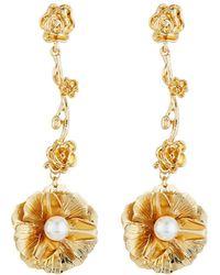 Fragments - Flower & Pearly Dangle Earrings - Lyst