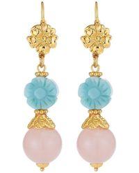 Jose & Maria Barrera - Carved Flower Drop Earrings - Lyst