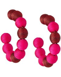 Lydell NYC - Wrapped Ball Hoop Earrings Pink/red - Lyst