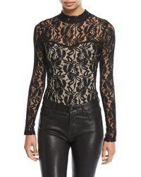 Love, Fire Long-sleeve Lace Bodysuit - Black