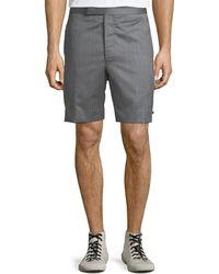 Thom Browne - Men's Striped Wool Back-strap Shorts - Lyst