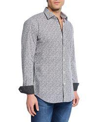 Bugatchi Men's Woven Printed Sport Shirt - Gray