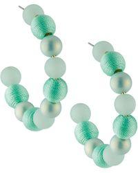 Lydell NYC - Beaded Hoop Earrings Blue - Lyst