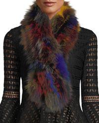 Adrienne Landau - Multicolor Fox Fur Pull-through Scarf - Lyst