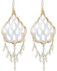Devon Leigh - Mother-of-pearl Filigree & Aqua Dangle Earrings - Lyst