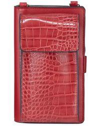 Neiman Marcus Mock-croc Crossbody Cell Phone Wallet Bag - Black