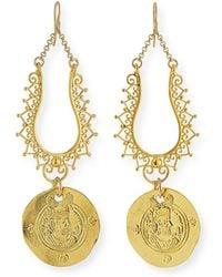Devon Leigh - Filigree Coin Drop Earrings - Lyst