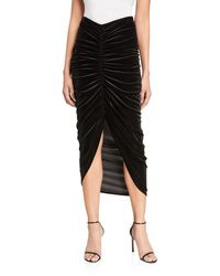 Bailey 44 Any Seven Ruched Velvet Skirt - Black
