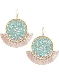 Nakamol Crystal & Tassel Fan Earrings