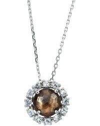 KALAN by Suzanne Kalan - 14k White Gold Quartz & Sapphire Starburst Pendant Necklace Smoky - Lyst