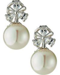 Majorica Crystal Trio & 12mm Pearl Drop Earrings - White