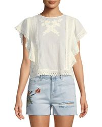 Dex - Lace Flutter-sleeve Peasant Blouse - Lyst