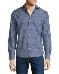 Neiman Marcus - Men's Slim-fit Jasper Check Sport Shirt - Lyst