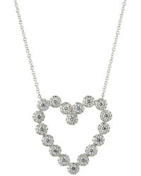 Neiman Marcus - 14k White Gold Diamond Heart Pendant Necklace - Lyst