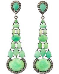 Bavna - Silver Tiered Drop Earrings With Chrysoprase & Diamonds - Lyst