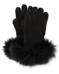 Neiman Marcus Cashmere Tech Gloves W/fox Fur Cuff - Black