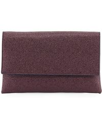 Neiman Marcus - Crinkle Metallic Clutch Bag With Crossbody Strap - Lyst