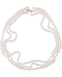 Cathy Waterman Estate Platinum Diamond Daisy & Rose Quartz Necklace - Pink
