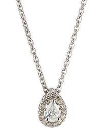 Neiman Marcus - 14k White Gold Diamond Pear Solitaire Pendant Necklace - Lyst