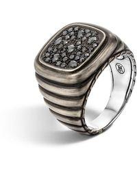 John Hardy - Men's Bedeg Linear Square Black Sapphire Ring Size 10 - Lyst