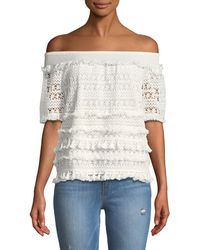 Philosophy | Off-the-shoulder Crocheted Tee | Lyst