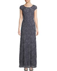 Adrianna Papell - Bateau-neck Beaded Lace Gown - Lyst