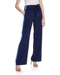 Diane von Furstenberg Ellington Silk Track Pants With Side Stripes - Blue