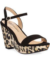 Neiman Marcus Metallic Leopard Wedge Sandals - Black