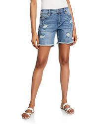 bec10d8dae Joe's Jeans - Bermuda Distressed High-low Frayed Shorts - Lyst
