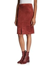 Neiman Marcus Faux Suede Skirt - Brown
