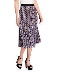 Neiman Marcus Geometric-print Pleated Skirt - Multicolor