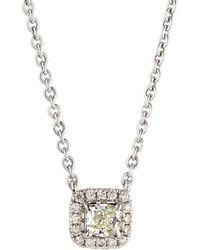 Neiman Marcus - 14k White Gold Diamond Cushion Solitaire Pendant Necklace - Lyst