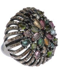 Bavna - Round Openwork Ring With Multi Tourmaline & Diamonds - Lyst