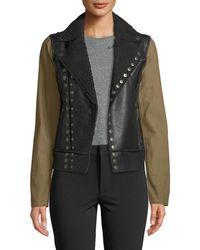 250a5d9f335 RACHEL Rachel Roy - Canvas-sleeve Faux-leather Moto Jacket - Lyst