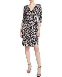 Diane von Furstenberg - Julian 3/4-sleeve Leaf-print Wrap Dress - Lyst