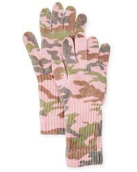 Neiman Marcus Camo Wool-blend Gloves - Pink