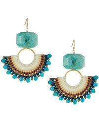 Panacea Amazonite & Fan Earrings Teal - Blue