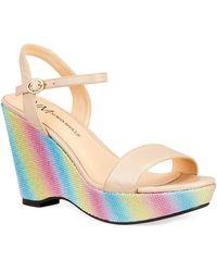 Neiman Marcus Bellal Rainbow Platform Wedge Sandals - Multicolour