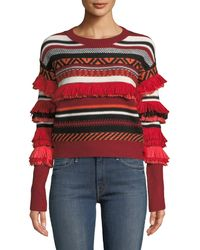 Haute Rogue - Fringed Striped Sweater - Lyst