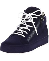 c3b412924a843 Giuseppe Zanotti Men's Flocked Leather Mid-top Sneakers in Blue for ...