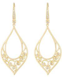 2368e211f60303 Lyst - Penny Preville 18k Long Open Scroll Drop Earrings W/ Diamonds ...