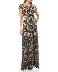 JS Collections - Short-sleeve Degrade-embroidered Gown - Lyst