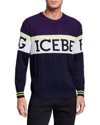 Iceberg Men's Colorblock Logo Crewneck Sweater - Blue