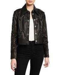 Yigal Azrouël Studded Lace Leather Jacket - Black