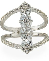 Jude Frances - Silver Open Flower Pave Ring Size 6.5 - Lyst