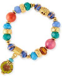 Jose & Maria Barrera Stretch Bracelet W/ Flower Charm - Blue