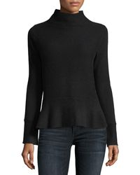Neiman Marcus Ribbed Mock-neck Cashmere Peplum Sweater - Red