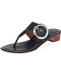 Bernardo Grace Leather Thong Slide Sandals Navy - Blue