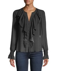 Go> By Go Silk - Go Get Ruffled Up Button-front Blouse - Lyst