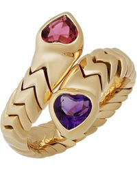 BVLGARI Serpenti 18k Double-heart Gemstone Bypass Ring - Metallic